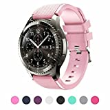 Bands for SAMSUNG Gear S3 Frontier/Classic/Moto 360 2nd Gen 46mm Watch Silicone Bracelet, Sports Silicone Band Strap Replacement Wristband For Samsung Gear S3 Frontier/S3 Classic (Blush Pink)