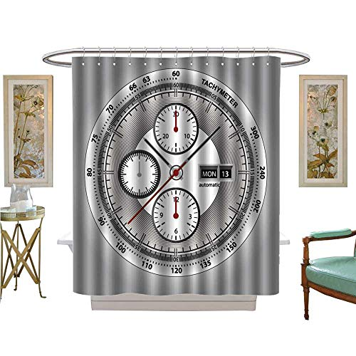 luvoluxhome Shower Curtains Digital Printing Wrist Watch watchface with Chronograph and tachymeter White Edition Sport Watch Custom Made Shower Curtain W54 x L78