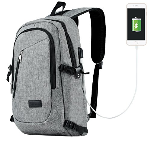Travelambo Business Water Resistant Polyester Laptop Backpack Travel Bag with USB Charging Port and Lock Fits Under 17-Inch Laptop and Notebook (gray with breathable mesh) by Travelambo