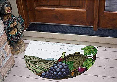 3D Semicircle Floor Stickers Personalized Floor Wall Sticker Decals,Vineyards Grapes Leaves Drink Barrel Agriculture,Kitchen Bathroom Tile Sticker Living Room Bedroom Kids Room Decor Art Mural D31.5