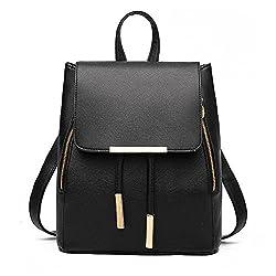 Wink Kangaroo Fashion Shoulder Bag Rucksack Pu Leather Women Girls Ladies Backpack Travel Bag Black