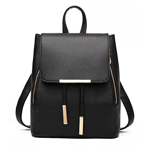 WINK KANGAROO Fashion Shoulder Bag Rucksack PU Leather Women Girls Ladies Backpack Travel bag (Black)