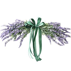 """Evoio Artificial Flower Garland 22"""" Fake Lavender Wreath with Bow Ribbon Door Wreath Decor for Home/Garden/Wedding/Holiday Party/Chair, Arch,Wall (Lavender) 3"""
