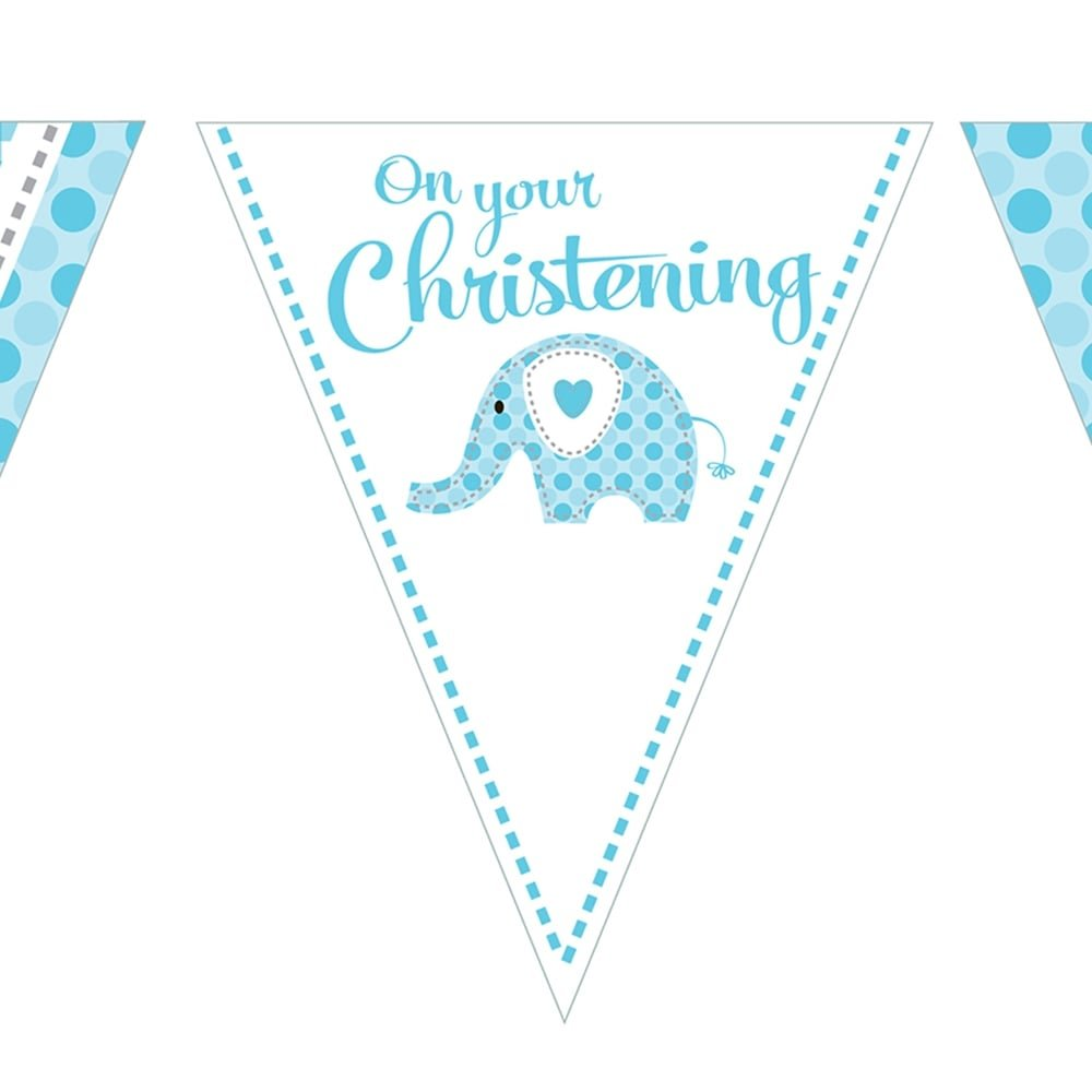 2XBaby Boy Blue Elephant On Your Christening Paper Bunting 3.7 m (12 ') Creative Party