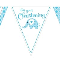 Baby Boy Blue Elephant On Your Christening Paper Bunting 3.7 m (12 ')