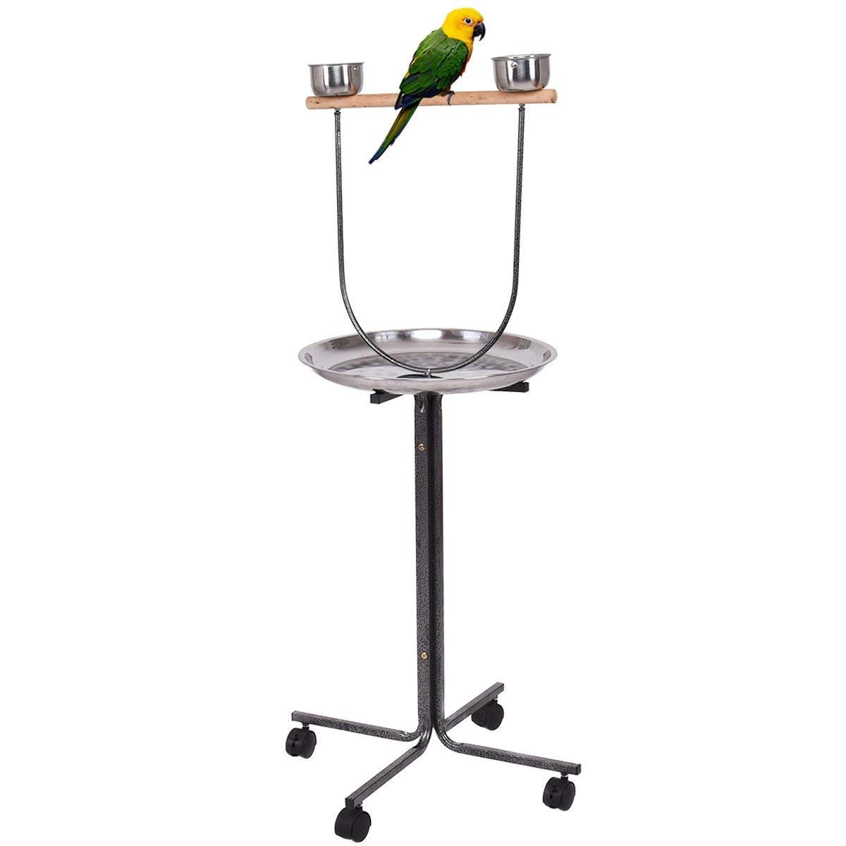 Giantex 51 Bird Play Stand, Wood Bar Large Stainless Steel Tray