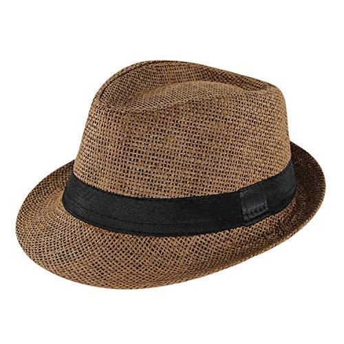 GordonKo Kids Sun Hat for Boys Summer Caps Casual Straw Caps Children Brown