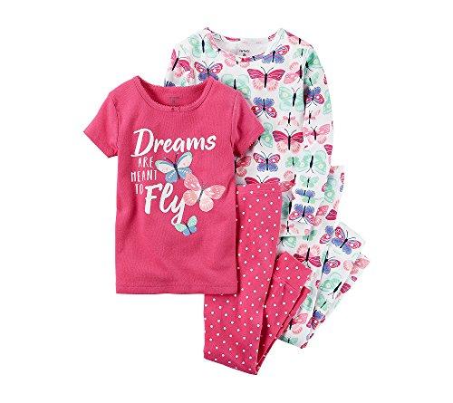 Butterfly Pajamas Sleepwear (Carter's Girls' 12M-12 4 Piece Butterfly Dream Pajama Set 18 Months)