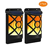 Solar Wall Lights with Flickering Flame, Aityvert 66 LED Waterproof Solar Lights Outdoor Lighting Dusk to Dawn Auto On/Off Flame Effect Solar Garden Lights for Halloween Pathway Patio Deck Yard 2 Pack