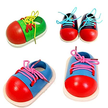 Yimosecoxiang Birthday Gift Toy Wooden Toy Shoelaces Shoes Lacing Tie Learning Preschool Skills Development Tool