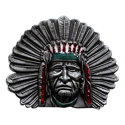Pansy Beauty New Indian Chief Head Belt Buckle Wt003 ()