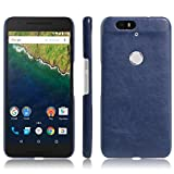 Nexus 6P Case, Fettion [Thin Fit] Ultra Slim Lightweight PU Leather Phone Case Cover for Huawei Google Nexus 6P / 6 2nd Gen 2015 Smartphone (Leather Cover Blue)