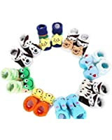 FABLOOK Coloured Super Soft Infant Toddler Baby Cotton Cartoon Shoes Style Socks (Pack of 1 Pair)