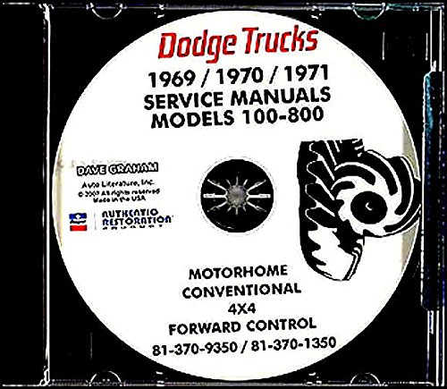 FOR OWNERS, MECHANICS & RESTORERS - 1969 1970 1971 DODGE TRUCK & PICKUP REPAIR SHOP & SERVICE MANUAL CD INCLUDES Gas & Diesel 100, 200, 300, 400, 500, 600, 800, W100, W200, W300, W400, W500 Power Wagon, Forward Control, Conventional