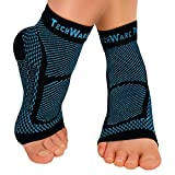 TechWare Pro Ankle Brace Compression Sleeve - Relieves Achilles Tendonitis, Joint Pain. Plantar Fasciitis Foot Sock with Arch Support Reduces Swelling & Heel Spur Pain. (Black / Blue, L / XL)