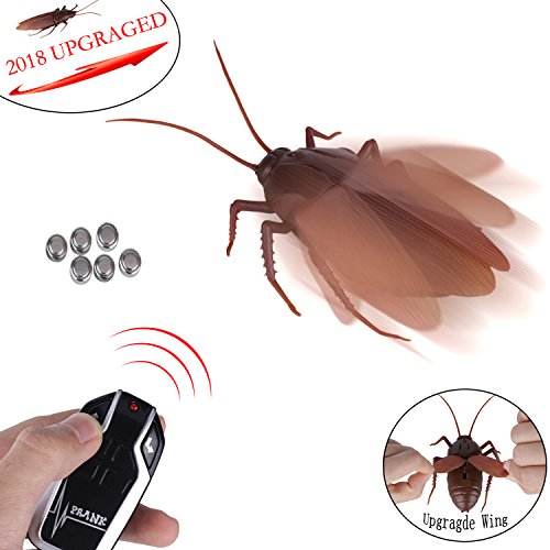 Greatstar 【Upgraded Version 2018】 Infrared Remote Control Realistic Fake Cockroach RC Prank Toy Insects Joke Scary Trick For Party Or Christmas&Halloween Gift -