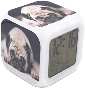 "BoWay 3""Desk & Shelf Clock Dolorous Pug Dog Pup Digital Alarm Clock with Led Lights Black Table Clock for Kids Teenagers Adults Home/Office Decor"