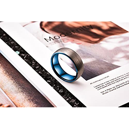 King Will Duo Unisex 5mm 6mm 7mm 8mm Classic Black Rose Gold//Blue Domed Tungsten Carbide Wedding Band Ring Comfort Fit
