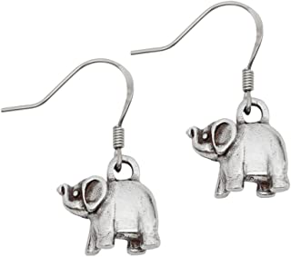 product image for DANFORTH - Elephant Pewter Wire Earrings - Handcrafted - Surgical Steel Wires