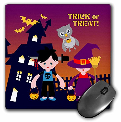 3dRose Belinha Fernandes - Halloween Celebration - Trick or treat message with owl and kids dressed up in halloween costumes - MousePad -