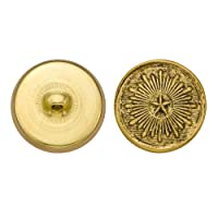 C&C Metal Products 5182 Bright Star Metal Button, Size 36 Ligne, Antique Gold, 36-Pack