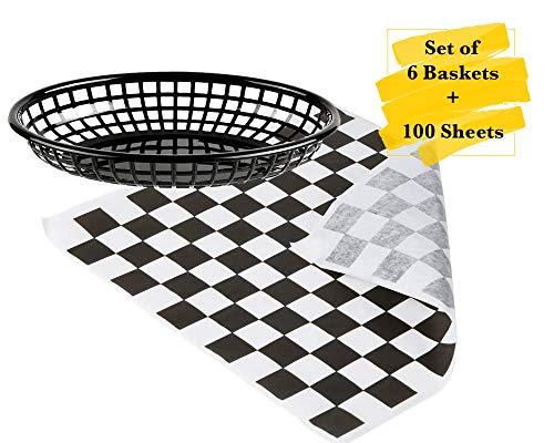 MM Foodservice Combo - Cestas de comida rápida y papel Deli resistente a la grasa. Juego de 6 cestas ovaladas de plástico...