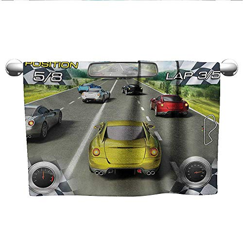 alisoso Cars,Boys Towel Car Racing Speedy Inspired Illustration Need for Speed Road Competition Motorsports Theme Quick-Dry Towels Multi W 20