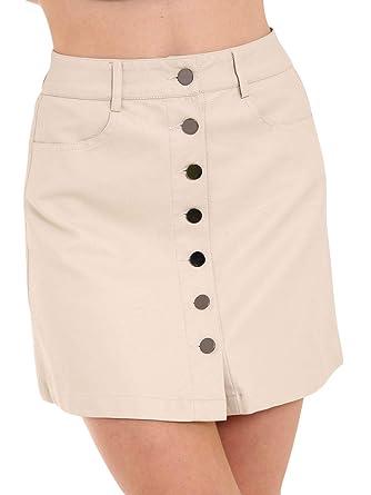 Denim Club Mini Falda para Mujer - Falda de Piel sintética de ...