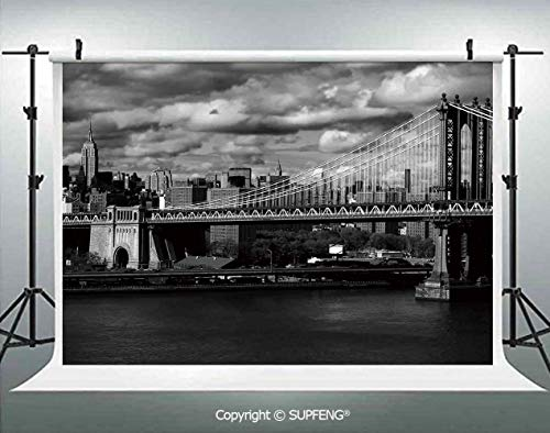 Photo Backdrop Black and White Panorama of New York City Skyline with Focus on Manhattan Bridge Photo 3D Backdrops for Interior Decoration Photo Studio Props -