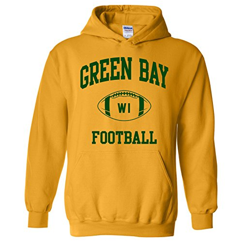 Green Bay Classic Football Arch American Football Team Sports Hoodie - X-Large - Gold