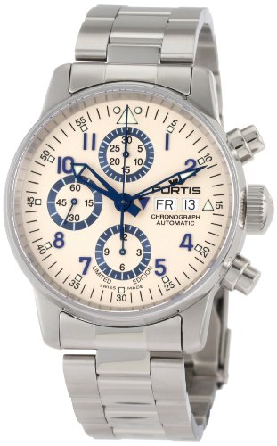 Fortis Men's 597.20.92 M Flieger Chronograph Limited Edition Stainless Steel Watch with Blue Accents