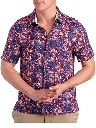 Nat Nast Mens Short Sleeve Palm Print Silk Camp Shirt X-Large Naval Blue
