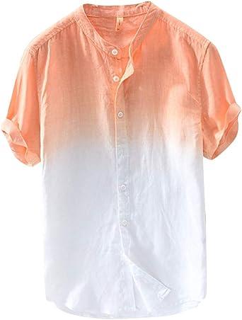 Hombre Camisa De Lino Manga Corta Camisetas Colores con ...