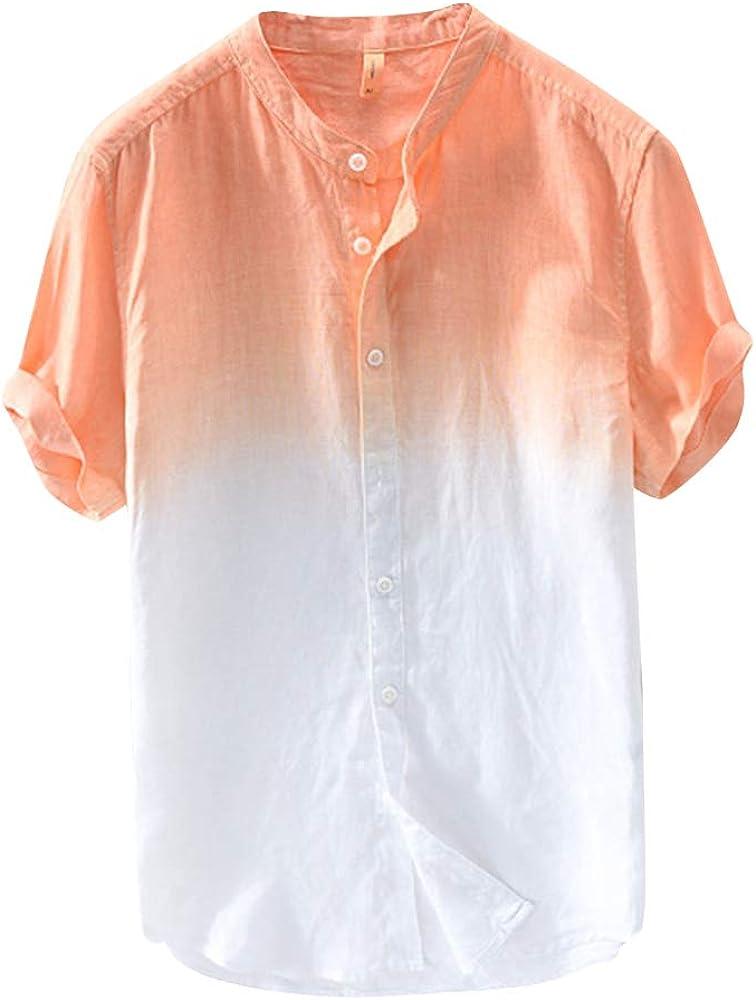 Hombre Camisa De Lino Manga Corta Camisetas Colores con Cuello Mao Naranja 3XL: Amazon.es: Ropa y accesorios