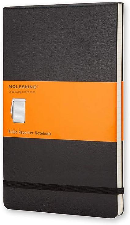 Notebook Reporter Pagina a Righe Moleskine Taccuino Copertina Rigida 192 Pagine Colore Nero Dimensione Large 13 x 21 cm