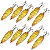 10pcs 3oz 6inch Fishing Spoon with Treble Hook Fish Jig Bait Lures Gold Tape - Fish WOW!