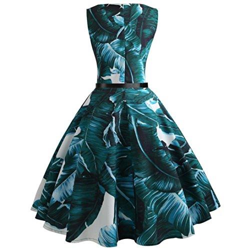 Huhu833 50s Retro Vintage Kleid Druck Sleeveless Casual Abend Partei ...