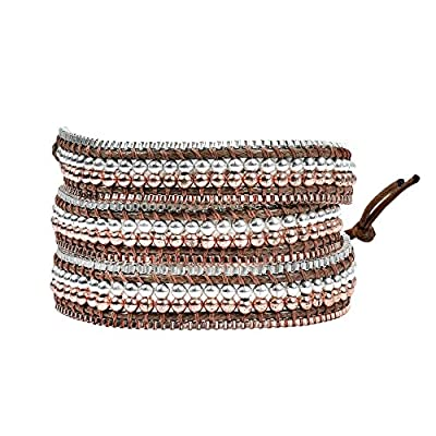 Stylish Native Copper and Silver Plated Base Two-Tone Wrap Bracelet