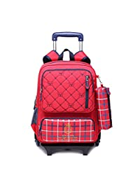 Meetbelify School Bags Backpack For Kids With Wheels Trolley Luggage Reflective Straps Red