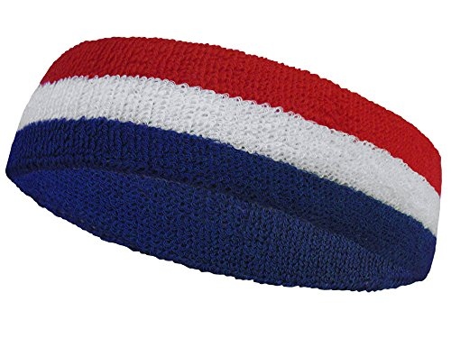 COUVER Premium Quality American Flag USA Headband Cotton Terry Cloth for Sports
