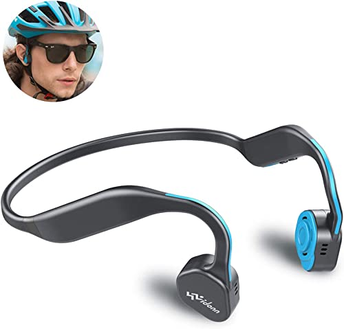Bone Conduction Headphones Bluetooth 5.0 Vidonn F1 Titanium Open Ear Wireless Sports Headset Stereo Sweatproof with Mic for Running Blue
