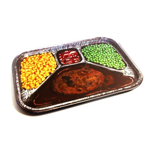 Retro TV Dinner Style Printed Party Serving Tray-Novelty Gag Gift (Tv Dinner Plates)