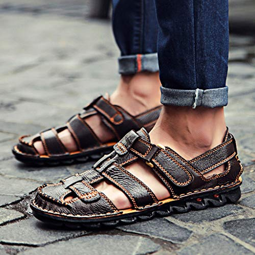 Summer Men's Sandals,Summer Mens Leather Sandals Flats Beach Walking Non-SlipSoft Bottom Casual Shoes by Tronet Sandals (Image #4)