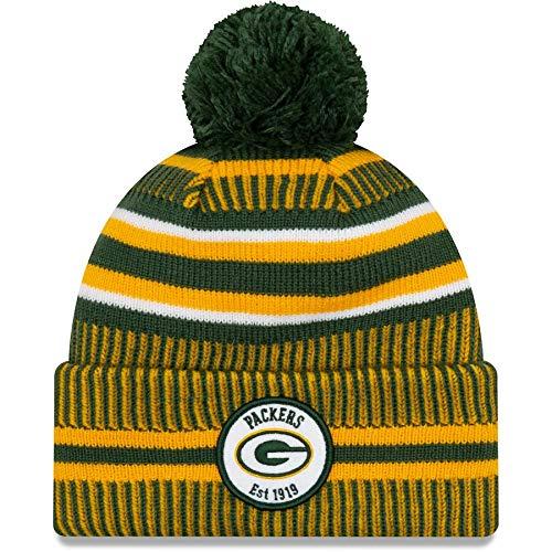 New Era Green Bay Packers 2019 Sideline Home Pom Sport Knit Hat (Green Bay Packer New Era Hat)