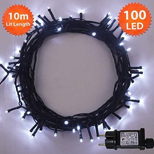Luci stringa 100 LED luminoso bianco stringa di luce 8 funzioni 10  metri-funzionamento 5be5417febf
