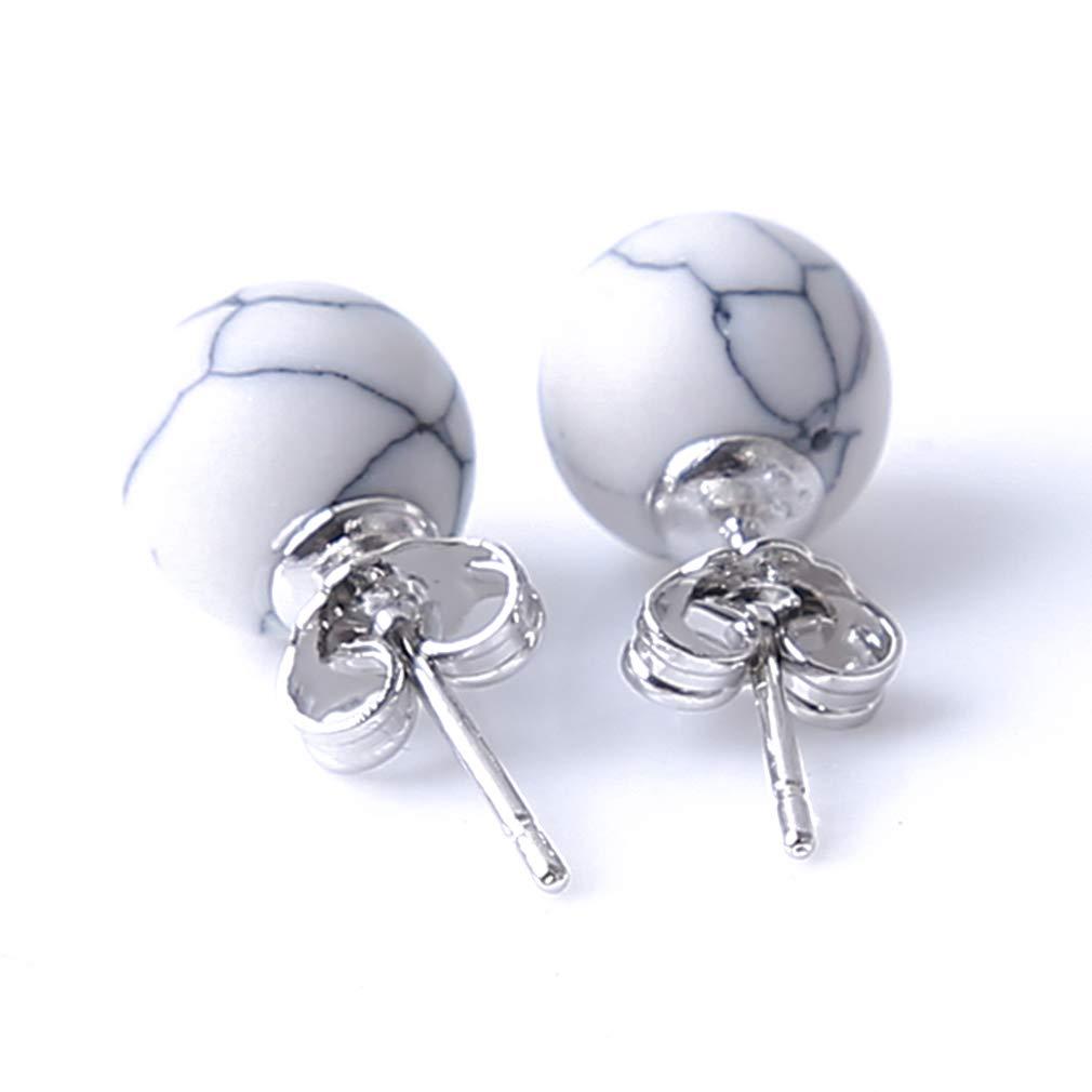 YESMAEA Imitation Marble Stone Earring Round Stone Shape Marble Gem Geometric Stud Earrings for Women,White