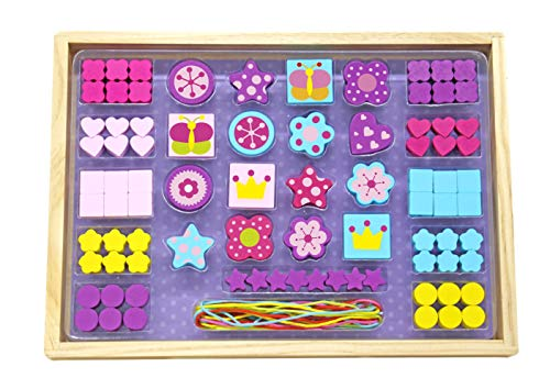 Toysters Wooden Bead Set for Toddler Girls | Colorful Wood Toy Jewelry Making Supplies for Kids | Bracelet and Necklace Making Kit | Children Arts and Crafts Help Improve Fine -