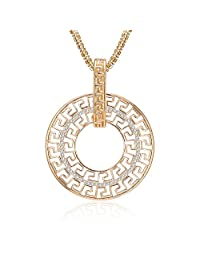 Long Necklace for Women,Geometric Pendant Necklace Girls Rose Gold Silver Chain Necklace with CZ Crystal