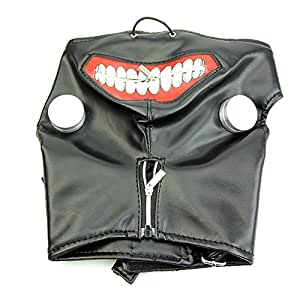 JERKKY Máscara de Cuero Tokyo Ghoul Kaneki Ken Cremallera Ajustable Faux Cosplay Halloween Negro