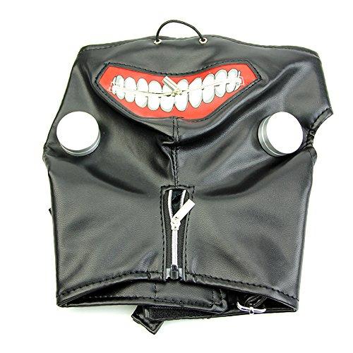Cicitop Halloween Costume Tokyo Ghoul Mask Kaneki Ken Cosplay Mask Leather Mask with Adjustable Zipper -